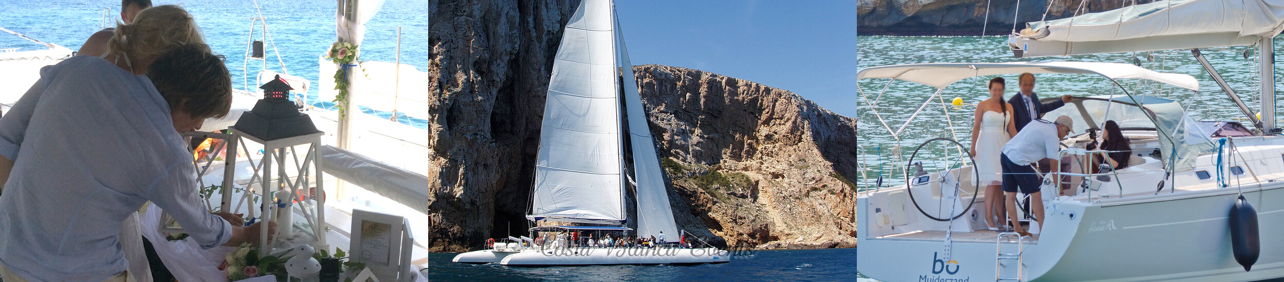 Composition photo of yacht weddings in Spain