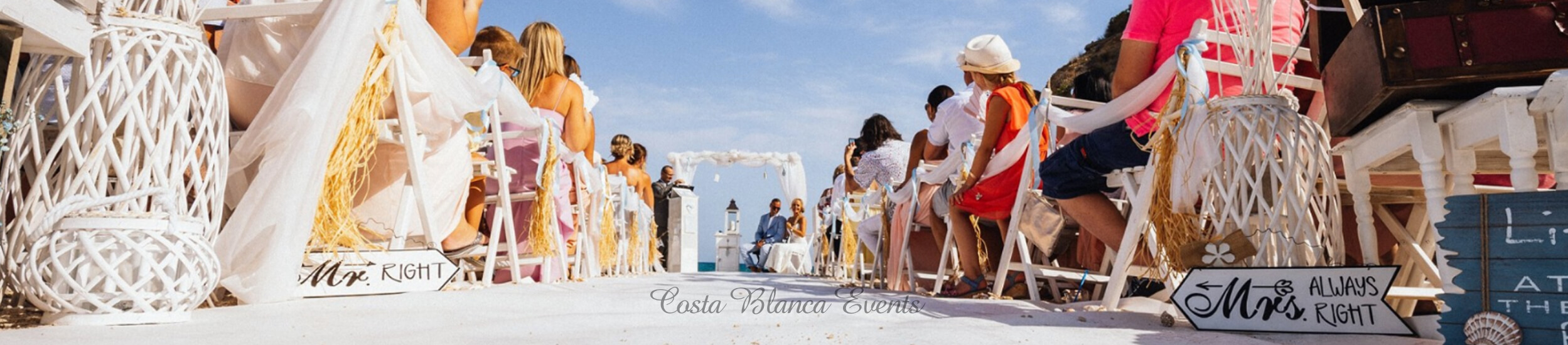 Beach wedding in Spain, on a beautiful white sandy beach