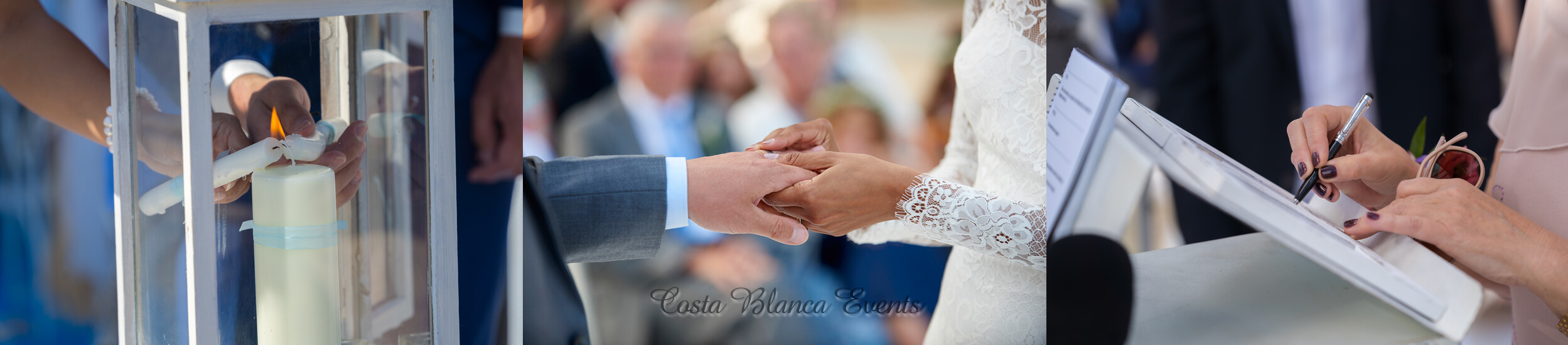 Images of couples during their wedding ceremony in Spain